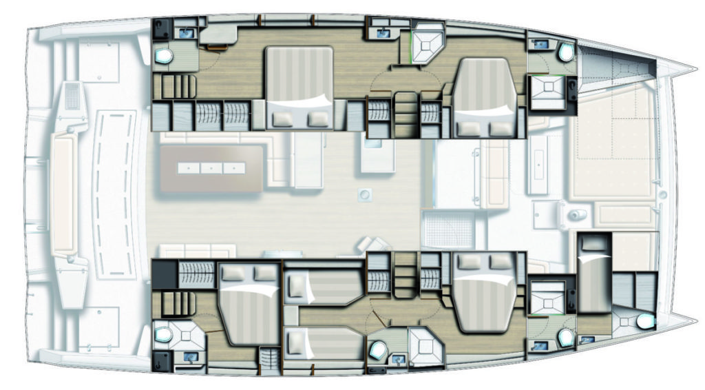 Catamaran BALI 5.4 Layout 5 cabin twin